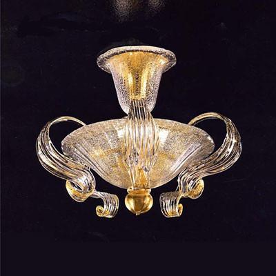 Murano Deckenleuchte aus Muranokristall mit Goldeinlage