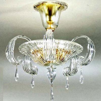 Murano Deckenleuchte aus Muranokristall mit 24 Karat Goldeinzug