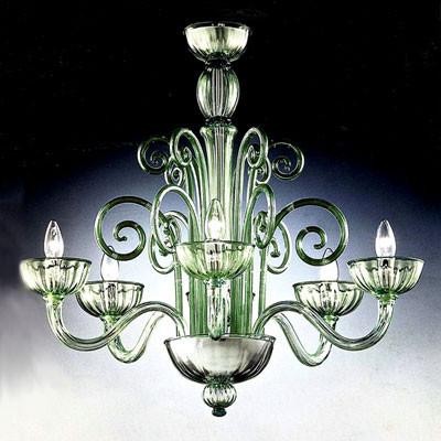 Murano Kronleuchter aus grün getöntem Muranokristall