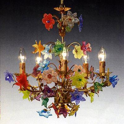 Murano Luster mit Glasblumen