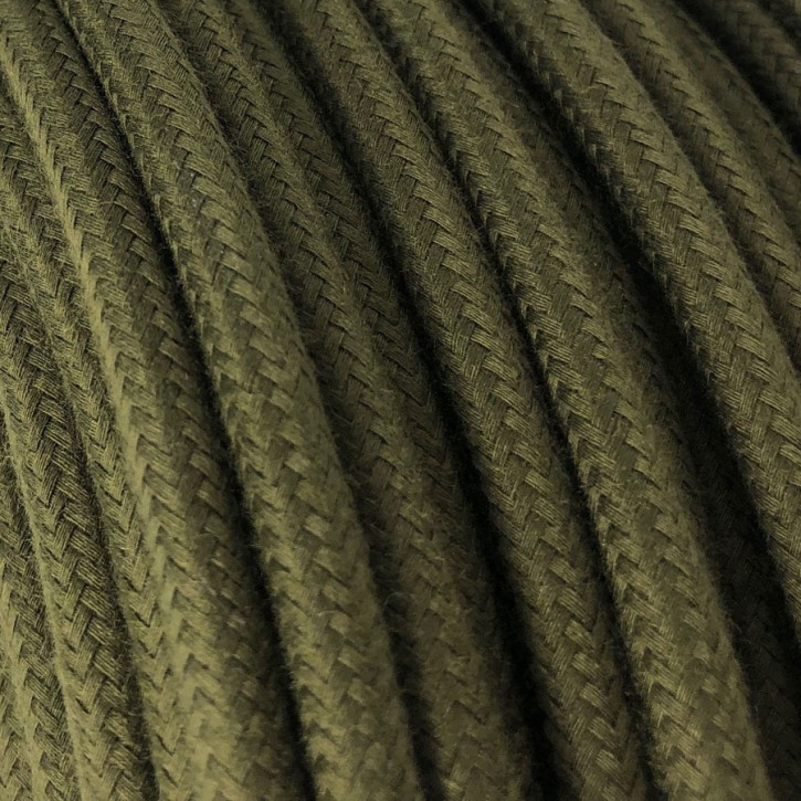 Textile cable 3x0,75mm² cotton olive green dark