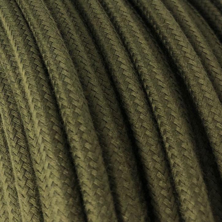 Textilkabel 3x0,75mm² Baumwolle olivgrün dunkel