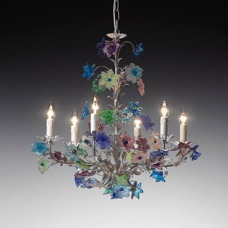 Murano Glasleuchte mit Blumen Pastell