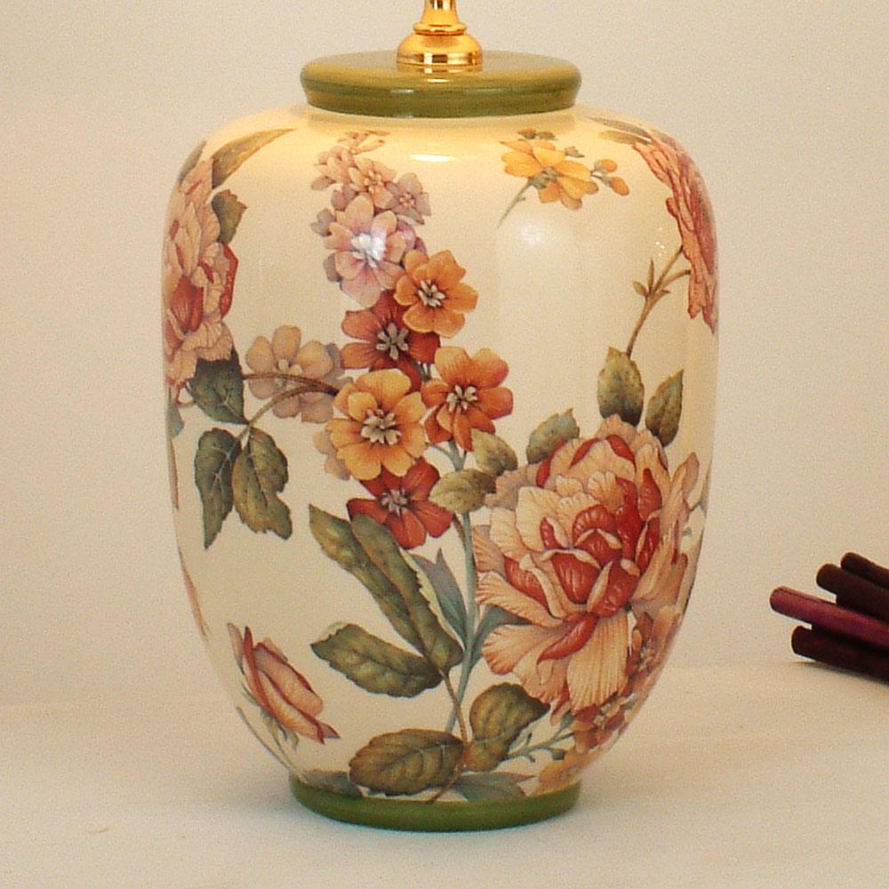 Holl nder tischleuchte keramik natur gr n rot metall gold e27 60w led 13w - Keramik tischleuchte ...
