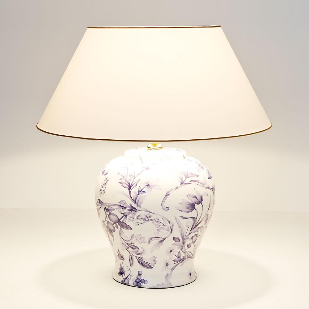 Holl nder tischleuchte keramik blau wei metall gold for Keramik tischleuchte