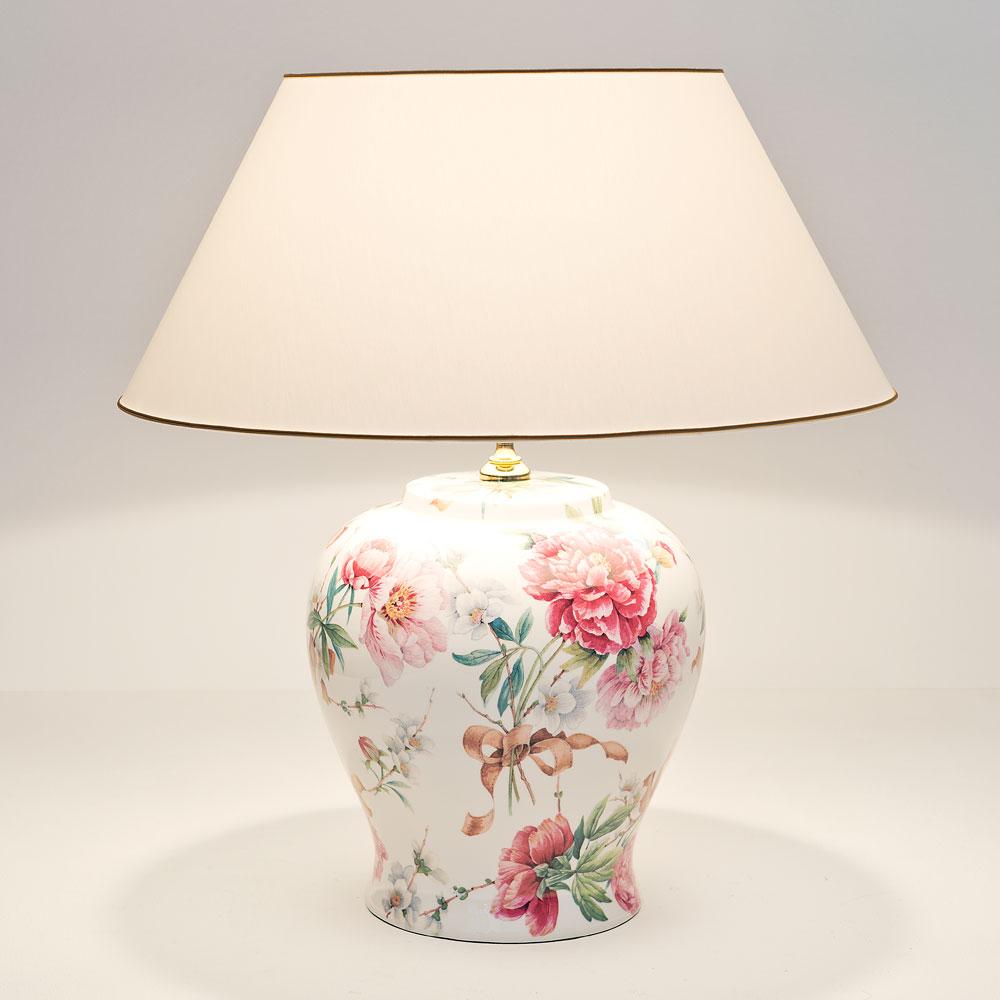 Olandese Lampada Da Tavolo Ceramica Rosa Antico Verde E Bianco Metallo Oro E27 60w 13w Led