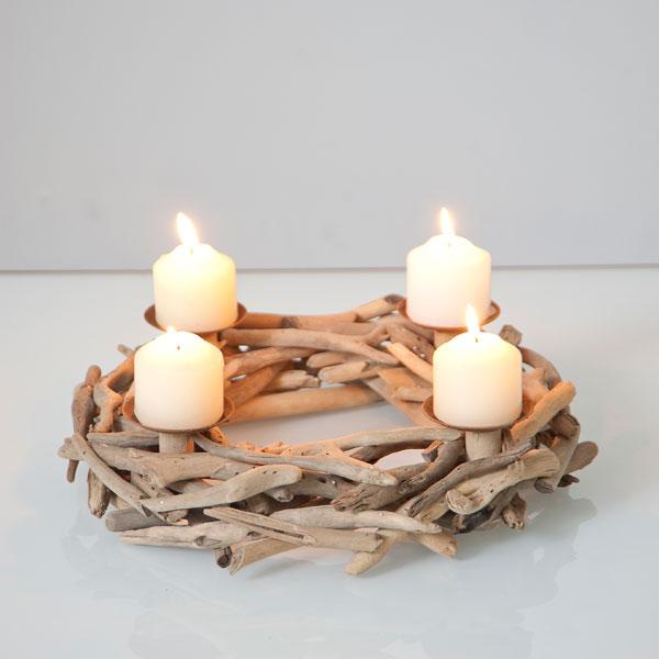 N erlandais accessoires bougeoir couronne bois flott for Couronne bois flotte