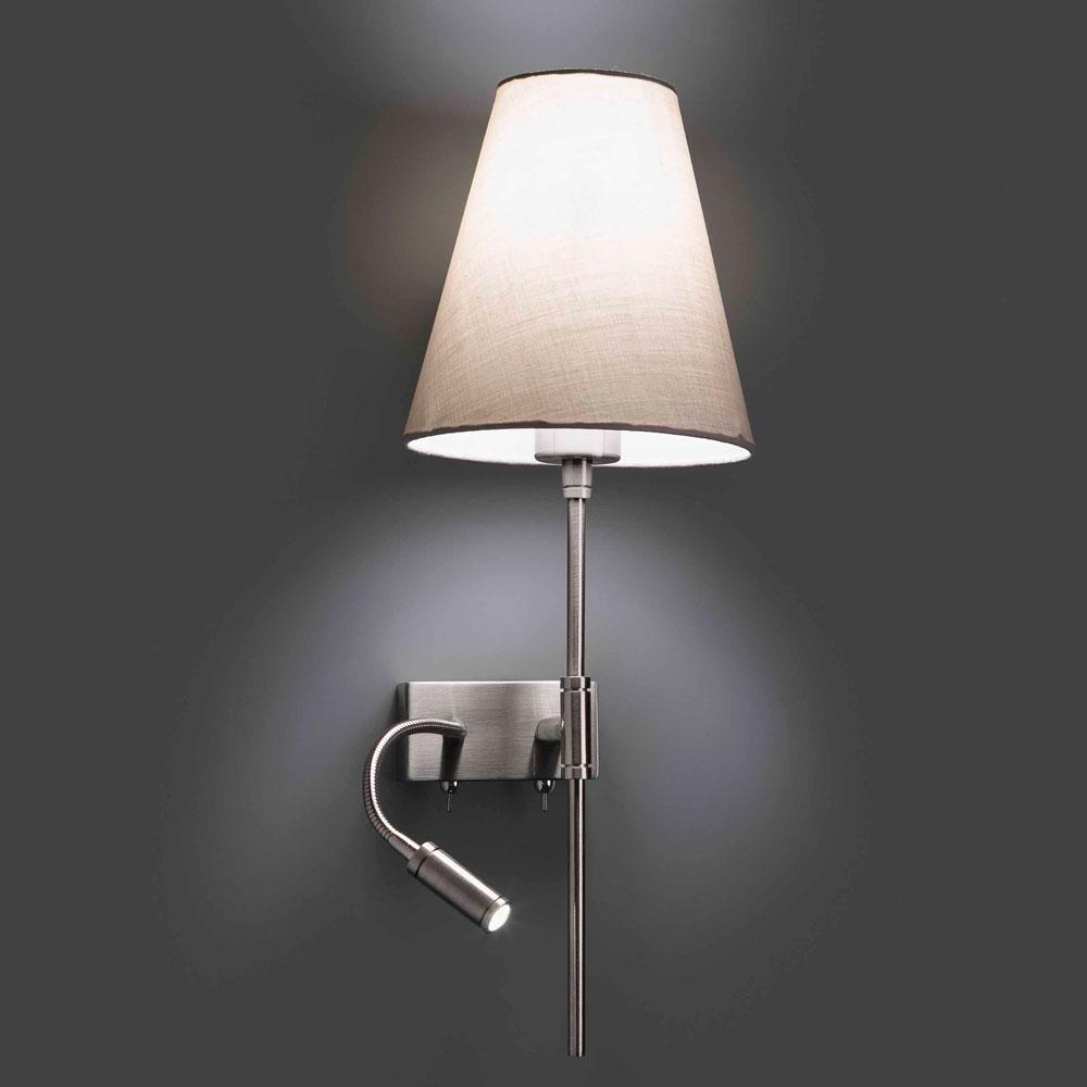 faro wandleuchte stahl chrom stoff beige e27 40w led 1w 4000k. Black Bedroom Furniture Sets. Home Design Ideas