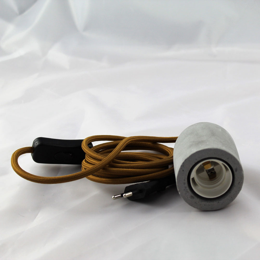 ls concept betonh lse lampenfassung e27 textilkabel braun schalter stecker led 4 21w. Black Bedroom Furniture Sets. Home Design Ideas