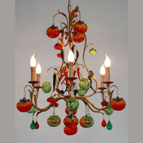 Chandelier with vegetables and drops