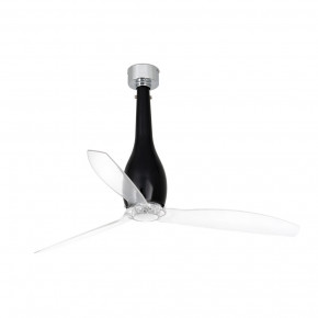 Eterfan Shiny black/transparent ceiling fan with DC motor