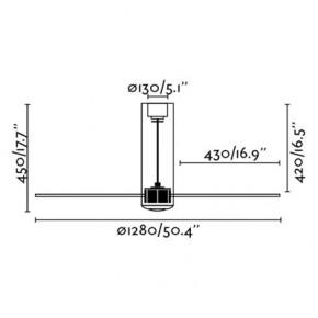 Tube Fan glänzend weißer/transparenter Deckenventilator mit DC-Motor