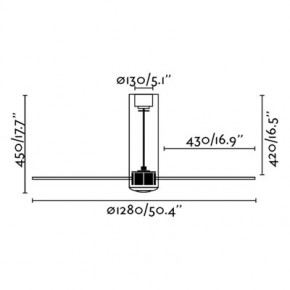Tube Fan matt schwarz/transparent Deckenventilator mit DC-Motor