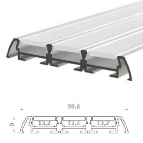 LED-Stripes Profil - 59.6 x 9 mm - blanco opal