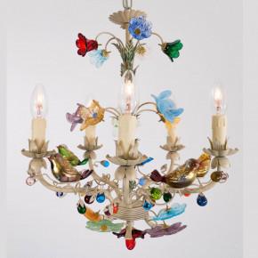 Murano Luster mit Blumen und Vögel