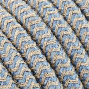 Textile cable 3x0,75mm² cotton sky blue/white