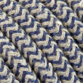 Textilkabel 3x0,75mm² Baumwolle blau/weiss