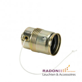 Metal socket E27 with pull switch, brass