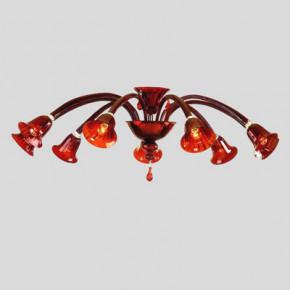 Murano Leuchte aus rotem Murano Kristall