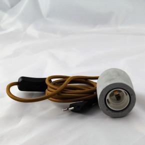 Betonhülse mit Lampenfassung E27, Textilkabel braun