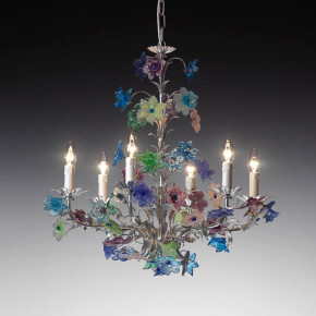 Murano glass lamp with flower pastel